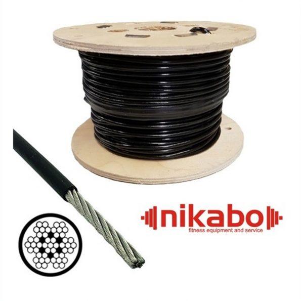 Въже за фитнес уреди / 100 метра / –  стоманено с черно найлоново покритие